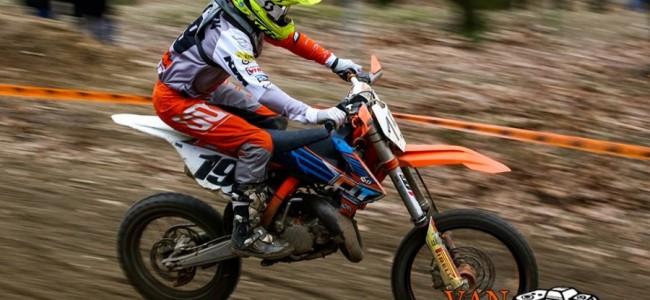 Sacha Coenen wint de 85cc klasse in Groesbeek