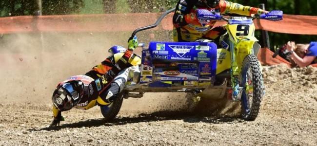 Bakkenist Badaire van GP Sidecar team Sanders breekt hand!